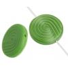 Glass Bead 18mm Round Twister Pattern Green Silk